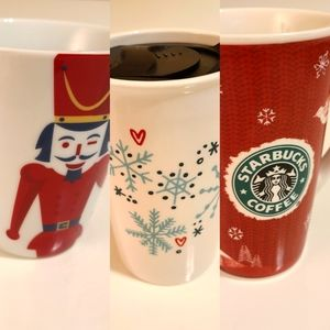 Set of 3 Starbucks Coffee Mugs Christmas Winter